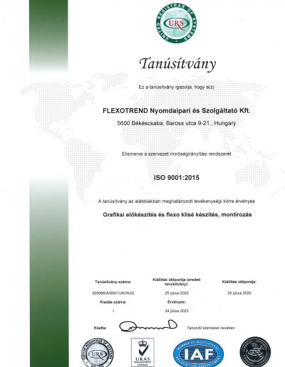 ISO 9001:2015 tanúsítvány